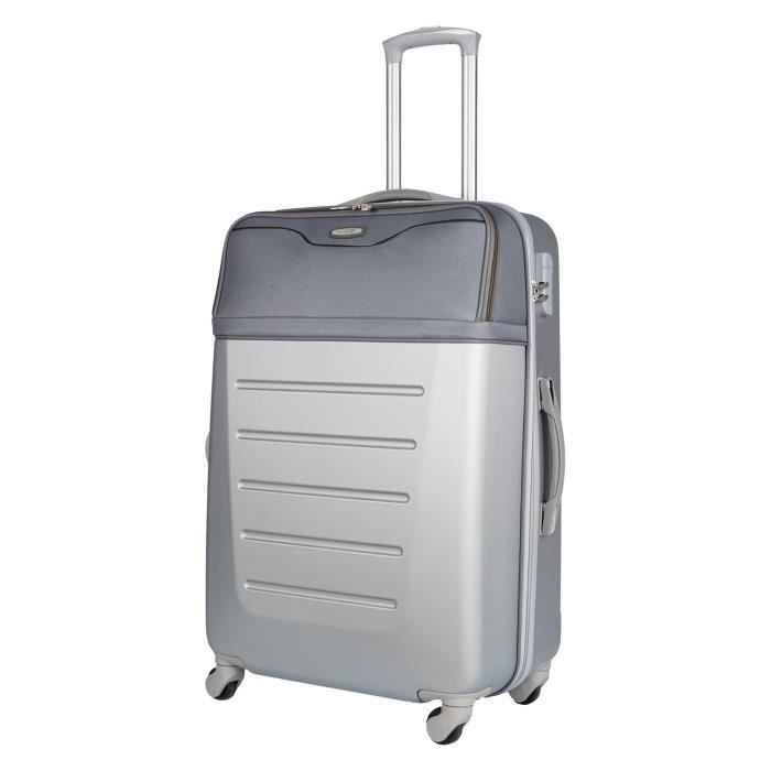 CDB Valise cabine low cost 4 roues 48 cm 70% ABS 30% polyester 600D Gris