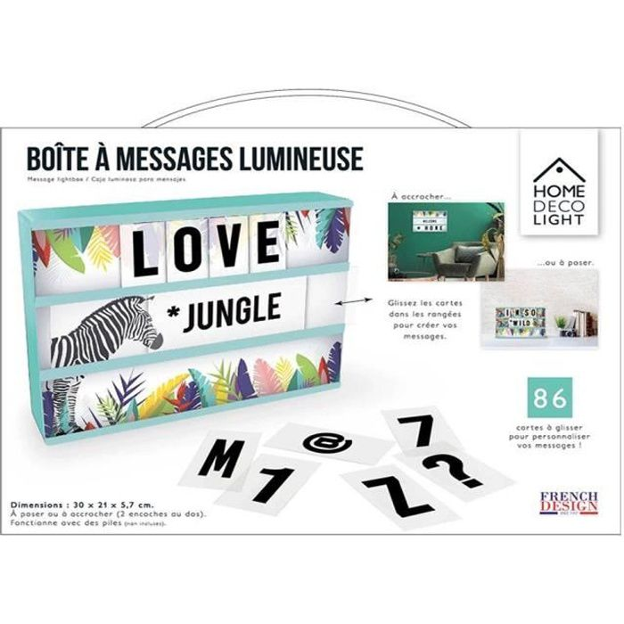 THE HOME DECO FACTORY Boite lumineuse à message A4 Exotic Sauvage