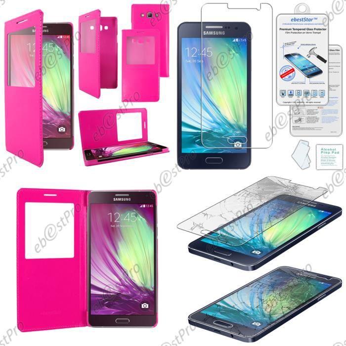 Verre Trempé + Housse Pochette Protection Coque Etui type S-View Samsung Galaxy A5 SM-A500F, Rose
