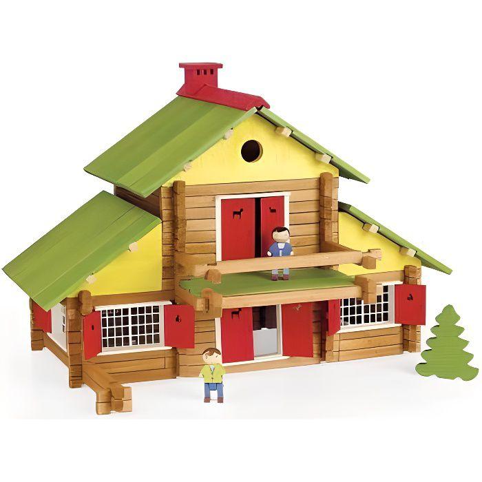 Grand Chalet Suisse 240 pieces - Jouet en bois - Fabrique en France - Maison Jeujura Construction - Enfant Des 5 ans