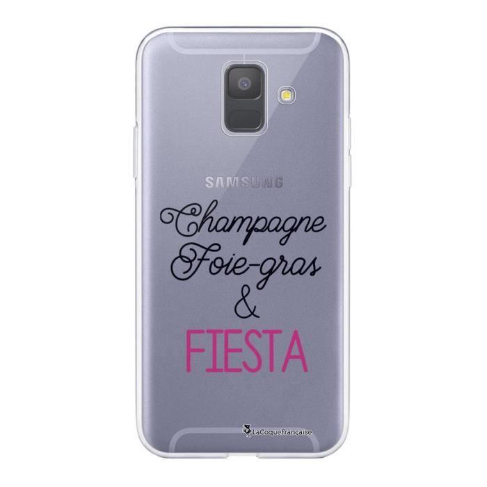 Coque Samsung Galaxy A6 2018 360 intégrale transparente Champagne Foie gras et Fiesta Ecriture Tendance Design La Coque Francaise