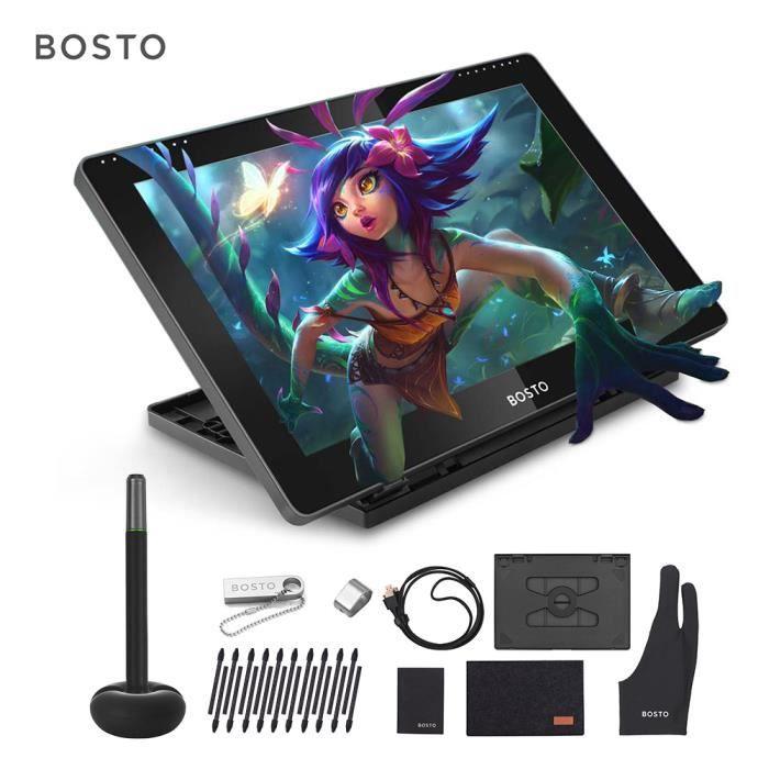 Bosto Bt 16Hd Tablette Graphique Professionnel 15,6 pouces avec Stylet 8192(Pas besoin de Batterie)