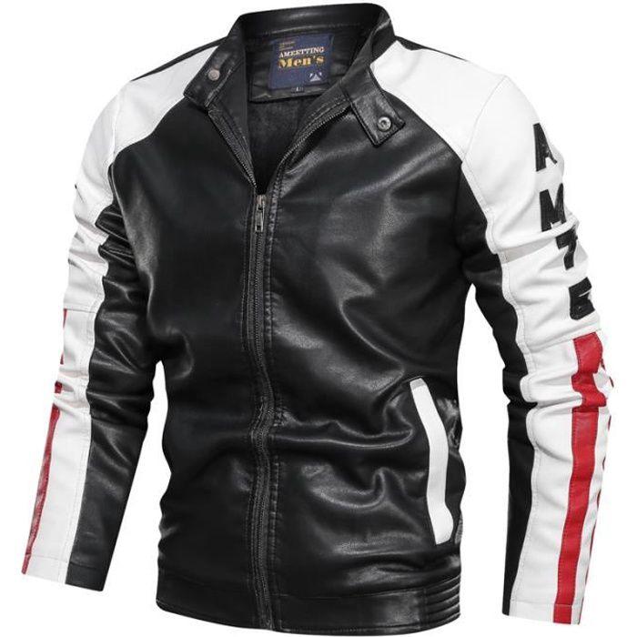 Hommes moto vintage PU cuir blouson manteau mode motard fermeture éclair poche