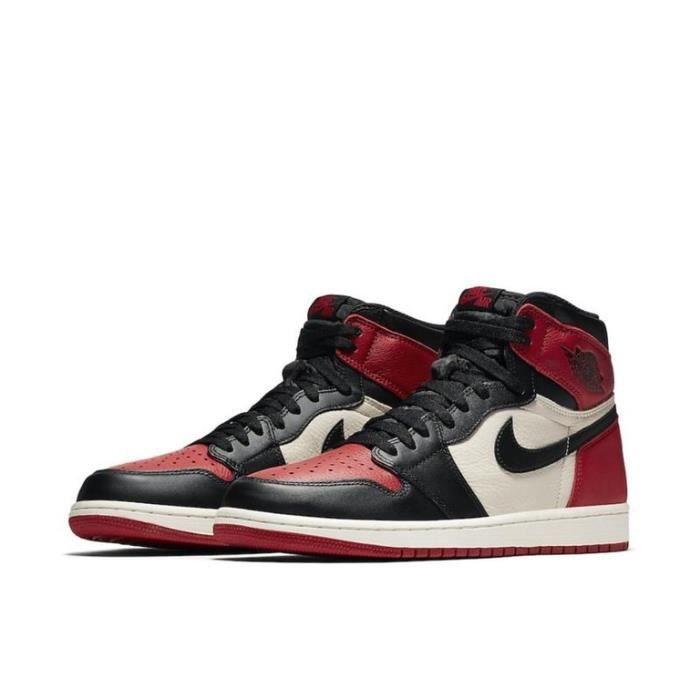 Air Jordan 1 Retro High Bred Toe Chaussures de Sport AJ 1 Pas Cher pour Homme Femme Rouge