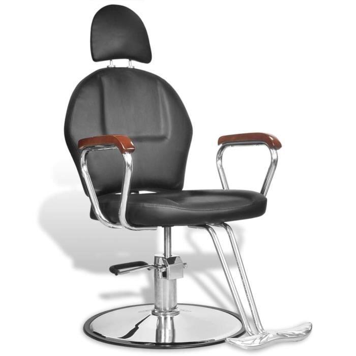 Fauteuil de coiffure Fauteuil De Barbier professionnel moderne chaise Dimensions : 60 x 84 x (90 - 100) cm en simili cuir noir