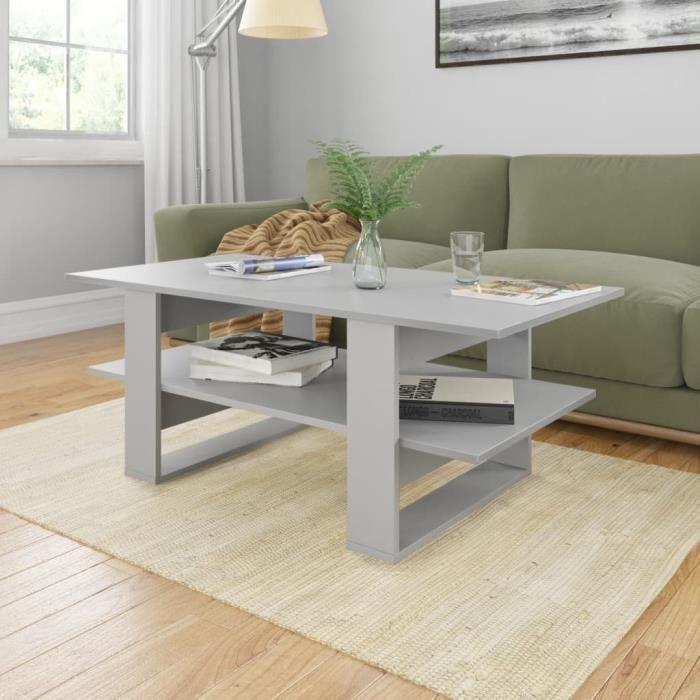 Table basse design scandinave salon contemporain Gris 110x55x42 cm Aggloméré