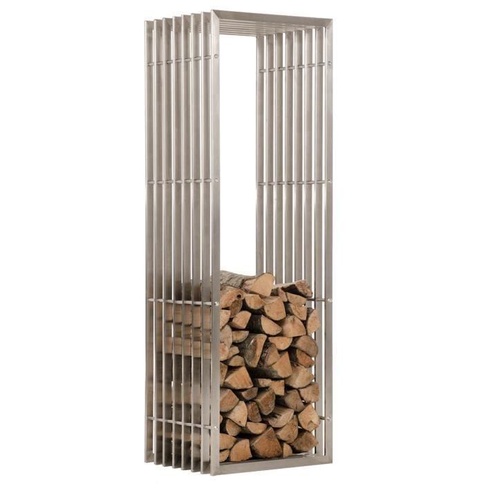 Porte-Bois en acier inoxydable - 150 x 50 x 40 cm