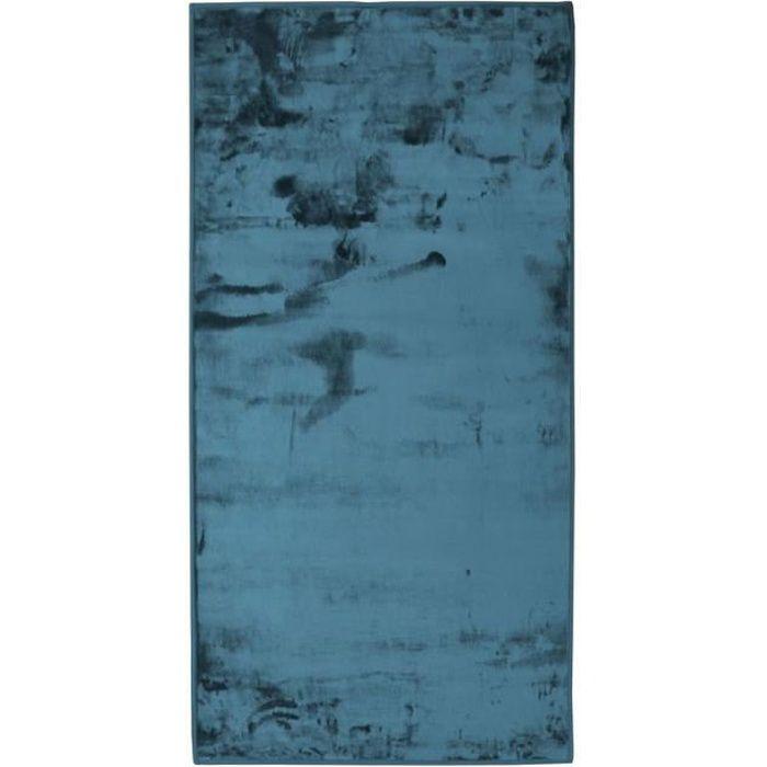 FLANELLE - Tapis extra-doux effet velours bleu foncé 60x120