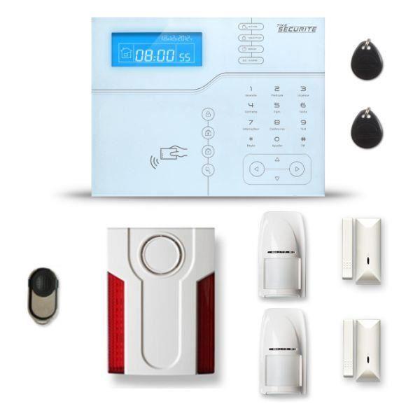 Alarme maison sans fil SHB V2 1 à 2 pièces mouvement + intrusion + sirène extérieure - Avec GSM