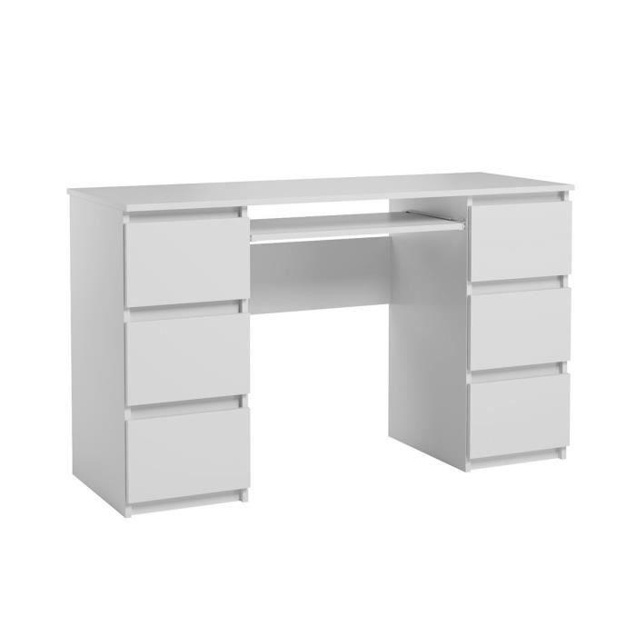 Bureau d'ordinateur. Bureau très élégant avec des tiroirs. Bureau informatique JARIS blanc mat