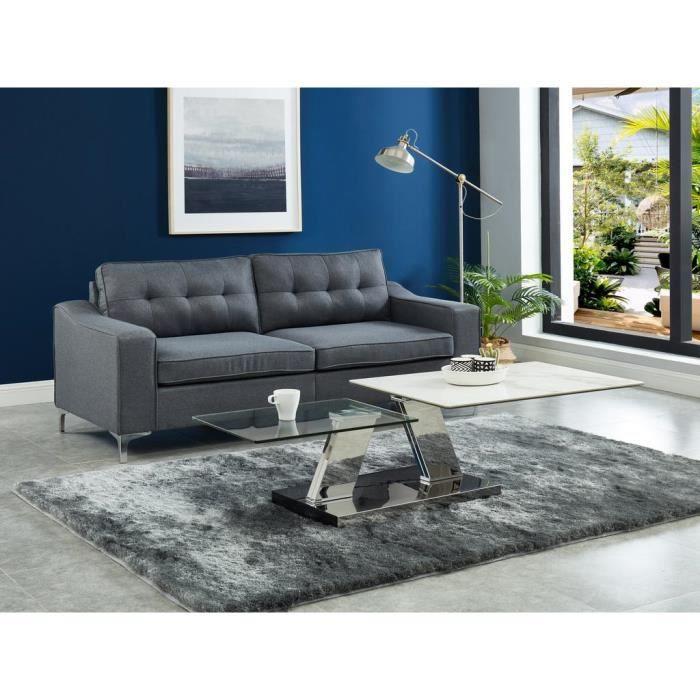 Table basse avec plateaux pivotants OXANA - Verre trempé, céramique et acier
