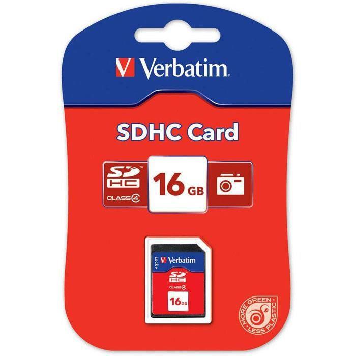 Verbatim Carte mémoire 16Go SDHC Classe 4