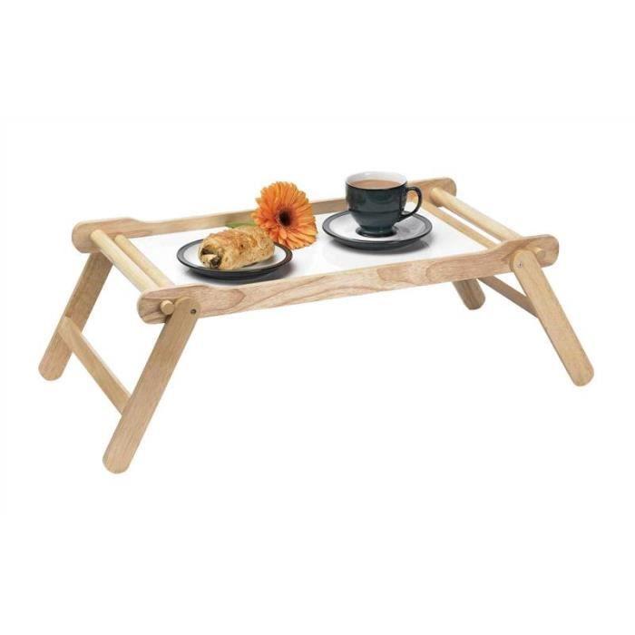 Plateau de service petit déjeuner bois caoutchouc hêtre avec pieds pliants