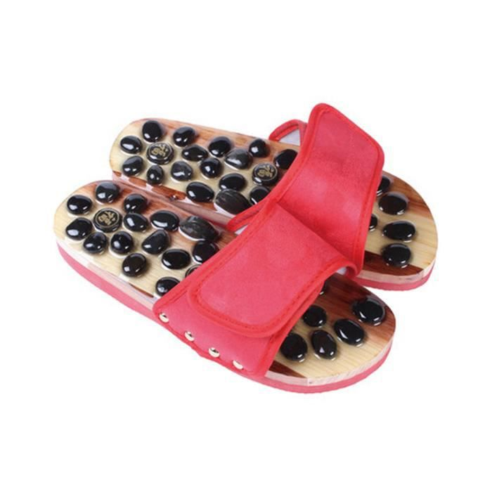 Mode féminine Massage chaussons antidérapants ménage Chaussons US5.5-6, RED