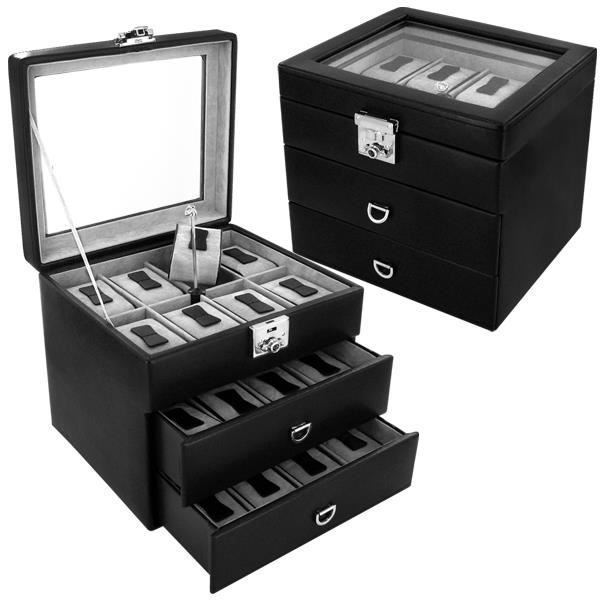 coffre coffret boite a montre 24 montres achat vente. Black Bedroom Furniture Sets. Home Design Ideas
