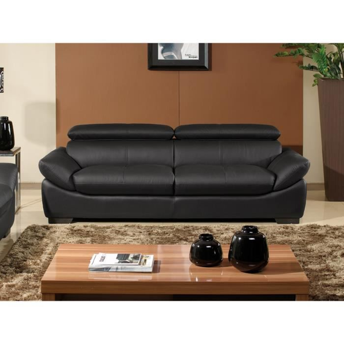 canap 3 places en cuir sup rieur noir borneo achat vente canap sofa divan structure. Black Bedroom Furniture Sets. Home Design Ideas