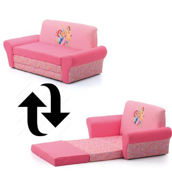 Canap convertible princesse disney rose achat vente for Canape lit enfant