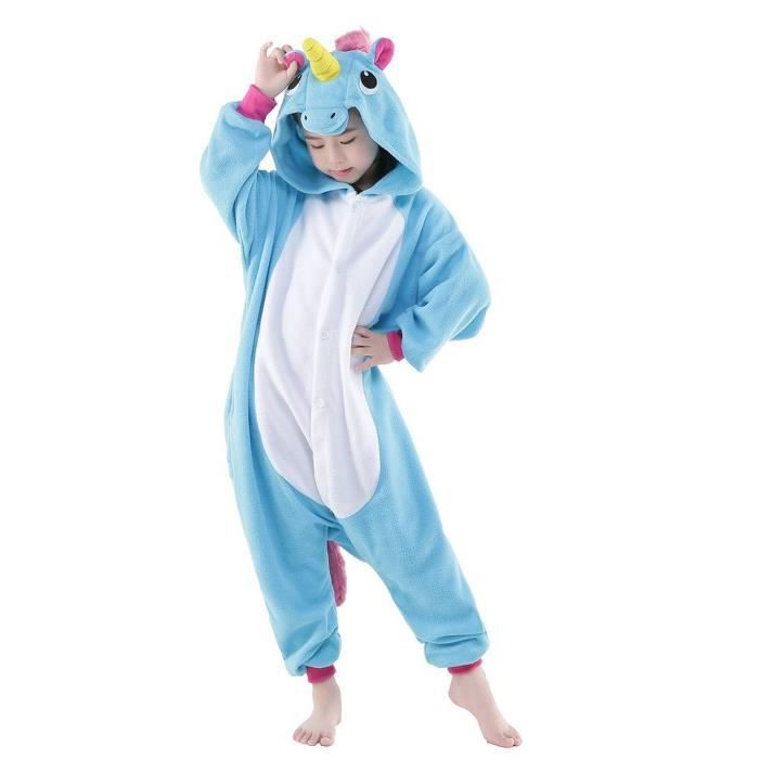 kigurumi pyjama licorne bleu enfant combinaisons d guisement bleu achat vente costume. Black Bedroom Furniture Sets. Home Design Ideas