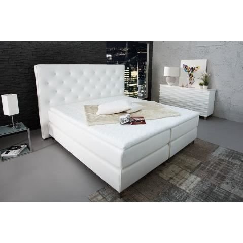 lit design blanc avec tete de lit capitonnee hotel 180x200 cm achat vente structure de lit. Black Bedroom Furniture Sets. Home Design Ideas