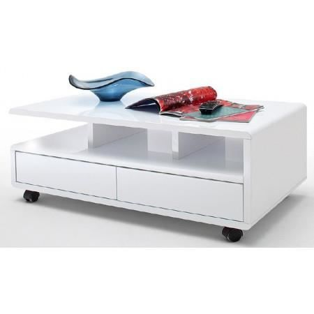 Table basse design blanc laqu 2 tiroirs christina achat vente table bass - Table basse a roulette ...