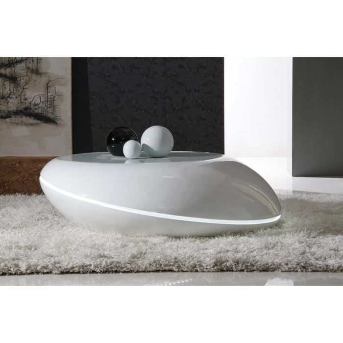Table basse design oz led blanche achat vente table for Table basse blanche design