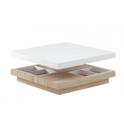 table basse tissem plateau pivotant mdf laqu blanc et ch ne achat vente table basse. Black Bedroom Furniture Sets. Home Design Ideas
