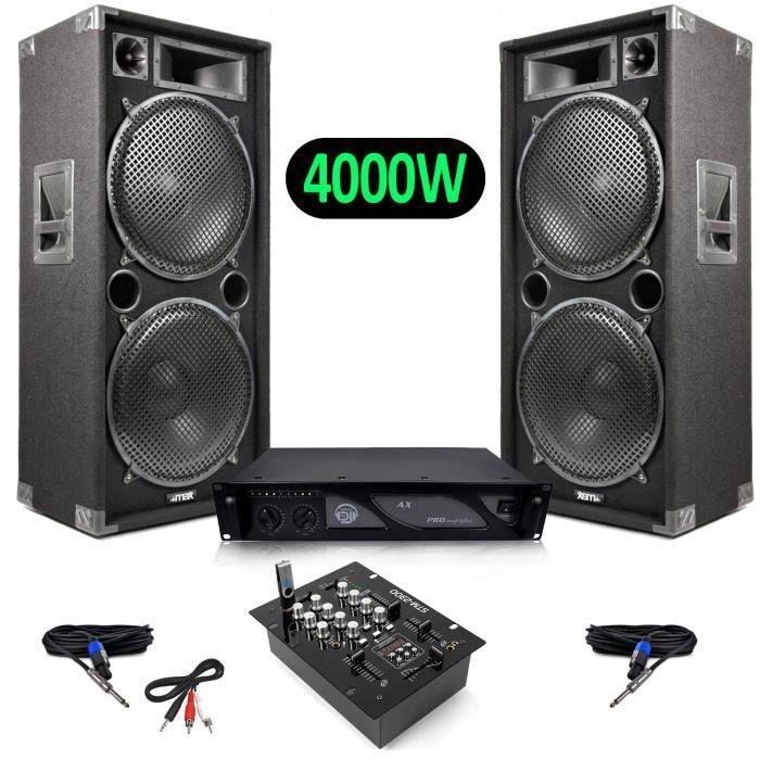PACK SONO Pack Sono Enceintes 4000W MAX215 + SkyTec STM-2300