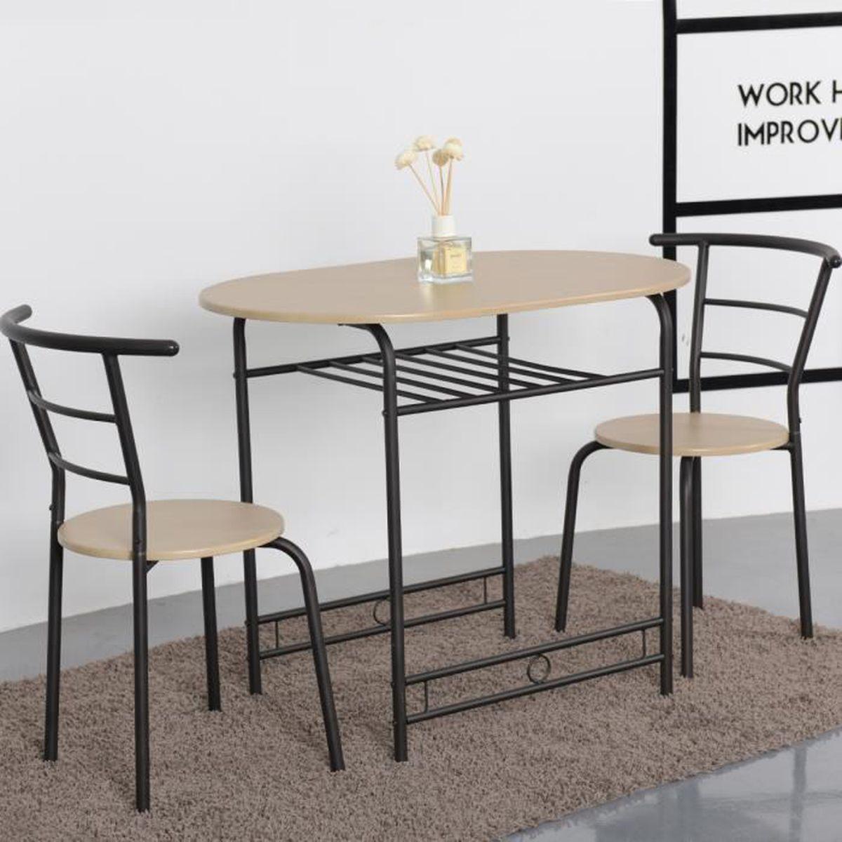 Table Et Chaises Salle à Manger Set De Table Et 2 Chaises Ensemble Table Et Chaises Cuisine En Mdf Acier Table De 91 X 61 X 765cm
