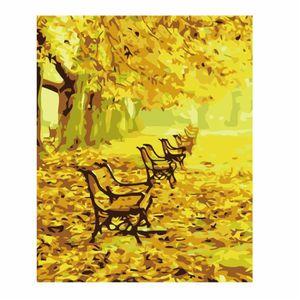 TABLEAU - TOILE love@ décoration murale feuille jaune automne amou