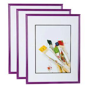 CADRE PHOTO Lot de 3 Cadres Photo 15x21 cm (Violet) - Cadre Ph