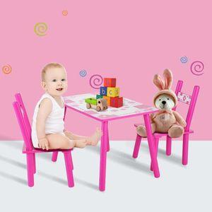 TABLE ET CHAISE Ensemble de 1 Table et 2 chaise pour enfants en bo