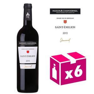 VIN ROUGE 6 bouteilles AOC Saint-Emilion 2013 Chamvermeil