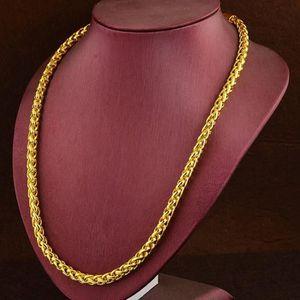 CHAINE DE COU SEULE hommes collier plaqué or jaune 18 carats chaîne bi