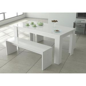Simple Finlandek Ensemble Keitto Table Manger De Personnes Bancs Laqu Blanc Brillant L X L Cm