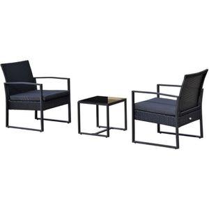 SALON DE JARDIN  Salon de jardin 2 places 3 pièces 2 chaises avec c