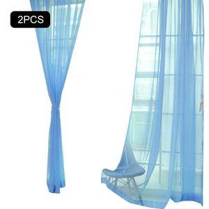 VOILAGE 8498-SHLK' Rideau Voilage Plissé Transparen