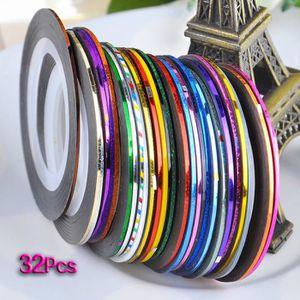 STICKERS - STRASS 32 pcs nail Sticker Fil Bandes Striping Tape Autoc