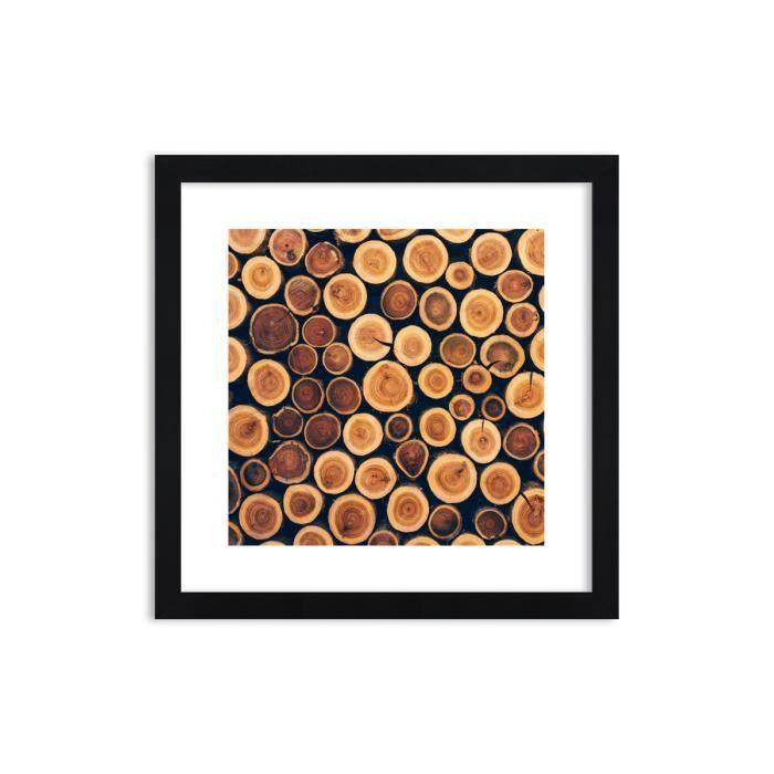 Image Impression sur toile 40x40 cm forêt de tronc de bois - Le Cadre couleur noire - pour la mur - F1BAC40x40-3974