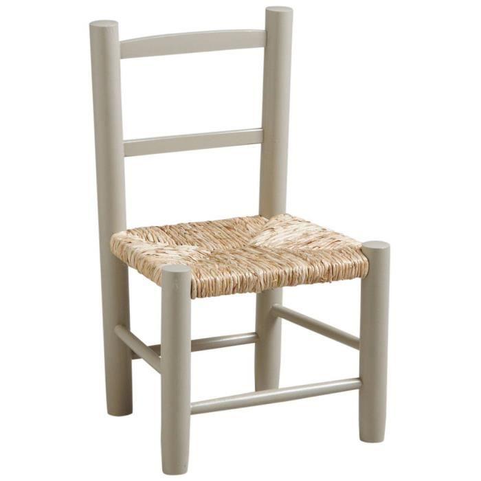 Chaise gris clair pour enfant en hêtre laqué et roseau 30x26x49cm.