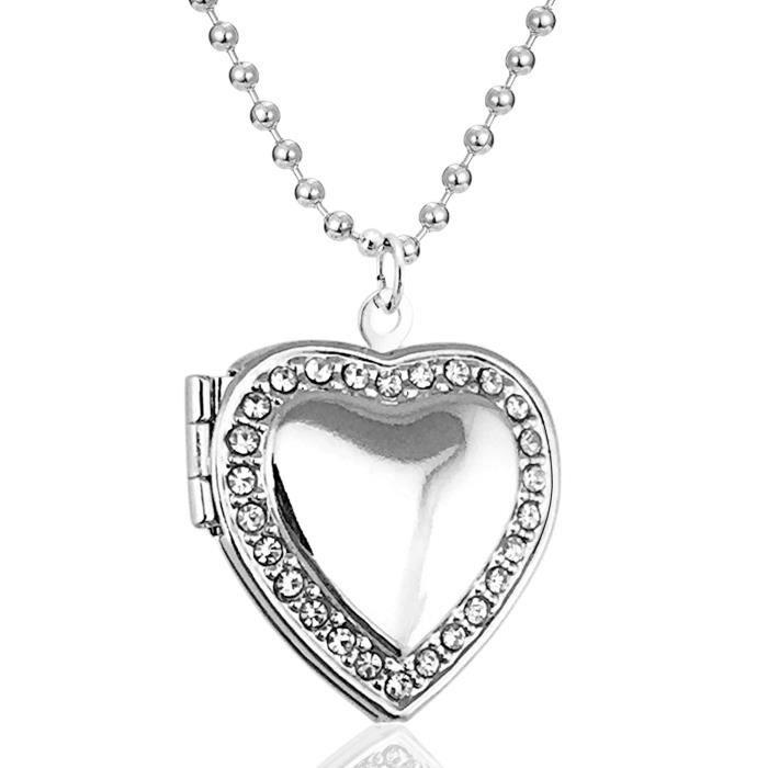 Chaine De Cou Vendue Seule DNLV2 Love Heart Médaillon Pendentif Femme Blanc Cz Birthstone photo Médaillon Mémoire vivante Médaillon