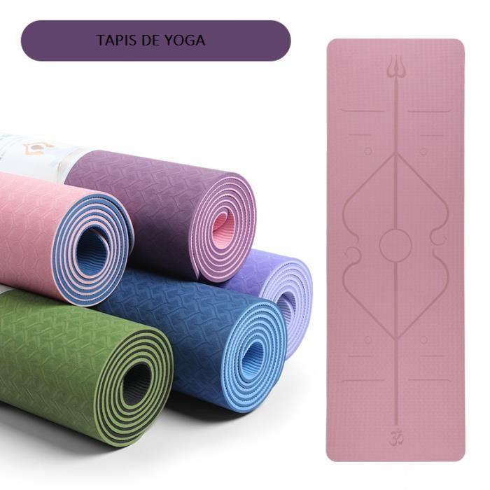 Tapis de Yoga en TPE avec Lignes d'alignement du Corps, 183x61x0.6 cm, Tapis Yoga Antidérapant et Durable, avec Un Sac à Dos rose +