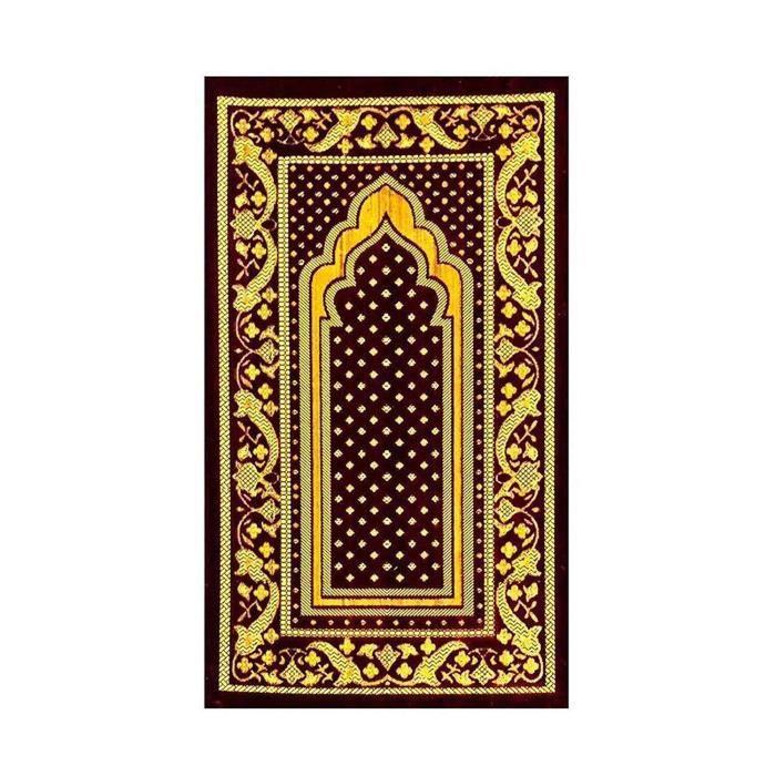 Générique Super Doux Mouse Extra Epais et Confortable Tapis de Prière Musulman en Marron