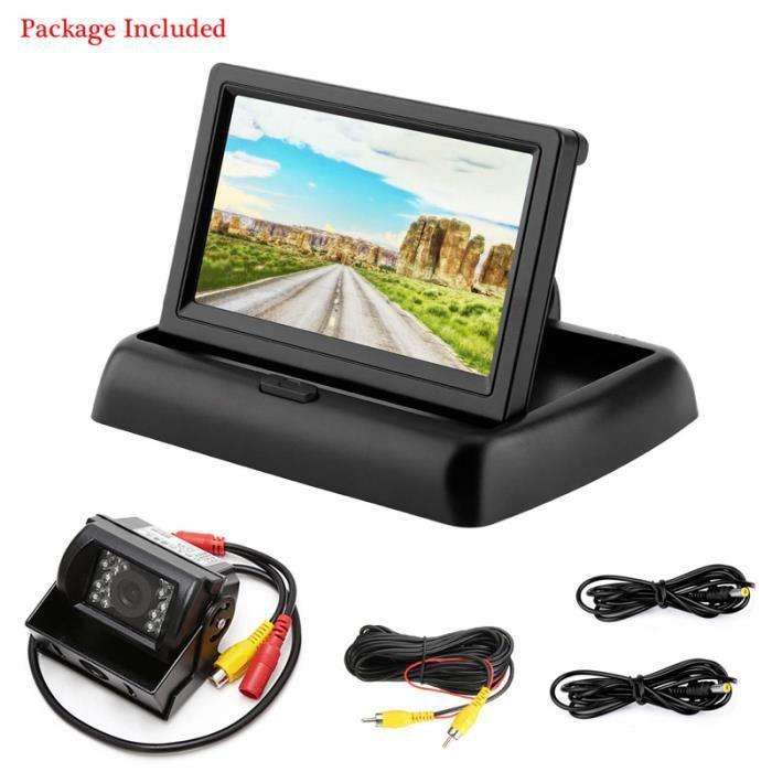 Sauvegarde de véhicule 18 LED IR Vision nocturne caméra de recul étanche + 4.3 -Kit de moniteur de rétroviseur LCD pour voiture 12V-