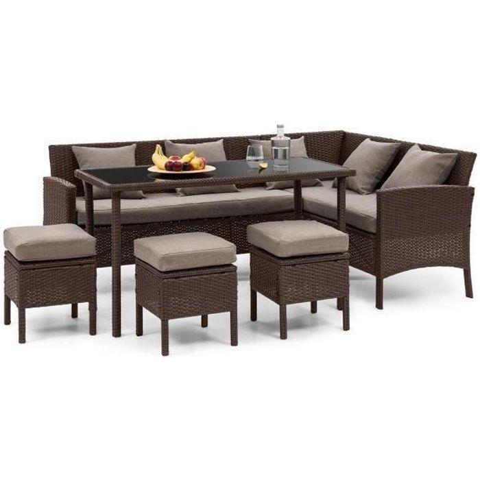 Blumfeldt Titania Lounge Salon de jardin 7 places en résine tréssée - table à manger , canapé & 3 poufs - polyrotin + housse marron