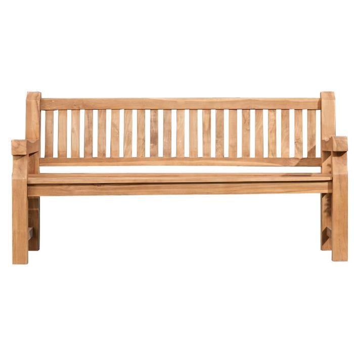 CLP Banc de jardin en bois de teck robuste JACKSON, résistant à toutes les saisons, avec dossier (5 tailles au choix) CLP
