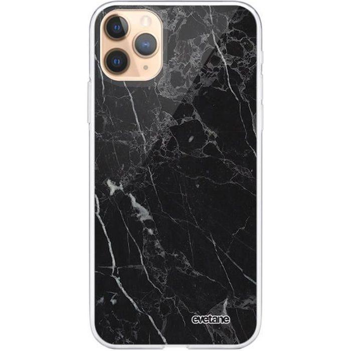 Coque iPhone 11 Pro Max 360 intégrale transparente Marbre noir Ecriture Tendance Design Evetane