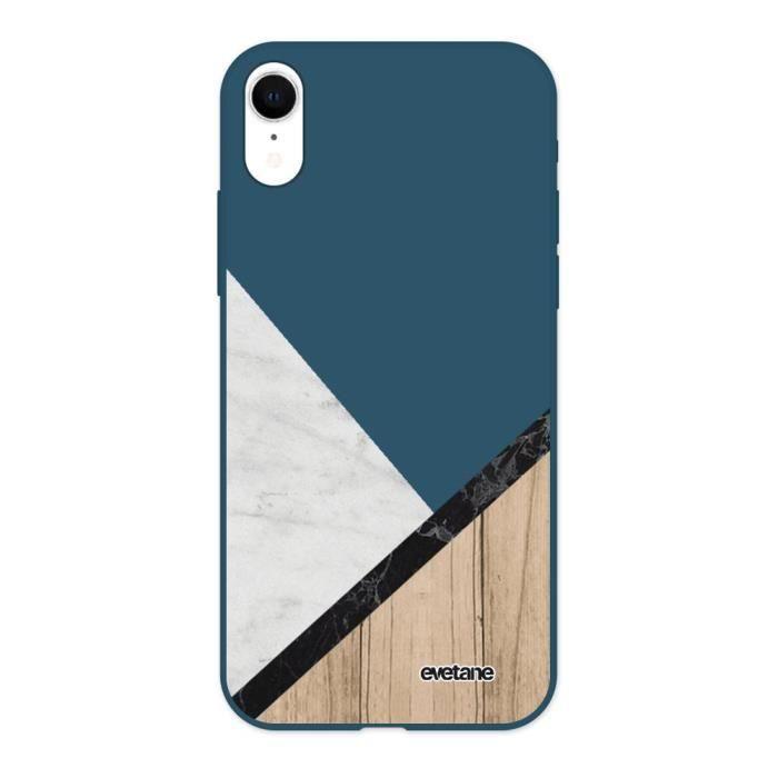 Coque pour iPhone Xr Silicone Liquide Douce bleu marine Marbre et Bois Graphique Ecriture Tendance et Design Evetane