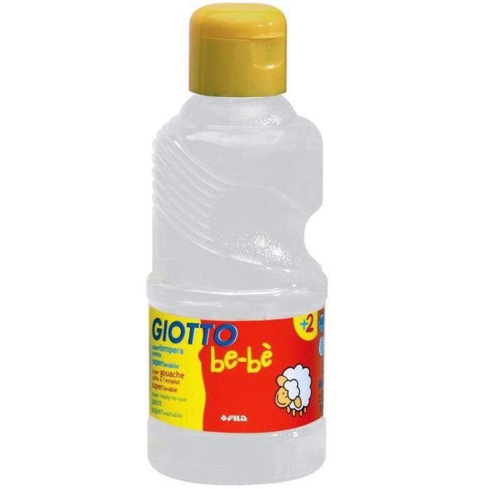 Peinture gouache Giotto Bébé - 250ml Flacon de 250 ml Convient à partir de 2 ans Qualité et fabrication française Blanc