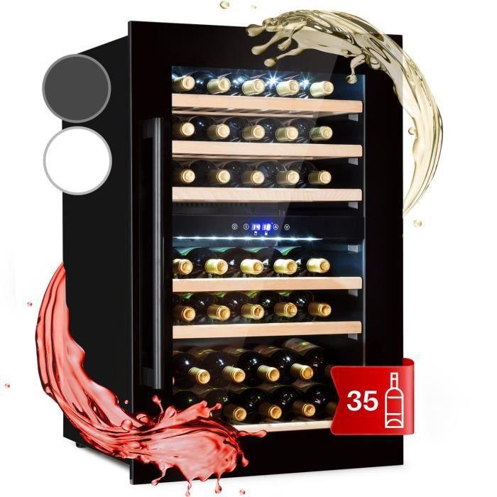 Cave à vin encastrable - Klarstein Vinsider 35D Onyx - 41 bouteilles - verre & bois