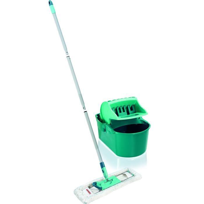 LEIFHEIT 55092 Set Essoreur Profi Compact, ensemble nettoyage avec balai serpillère, lave-sol manche en 3 parties, essorage facile